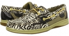 Dark Brown Zebra Printed Canvas Sperry Top-Sider Bluefish 2-Eye for Women (Size 9.5)
