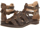 Black Cracked Leather Frye Rachel Moto Gladiator for Women (Size 7)