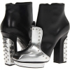 Silver/Black Painted Snake Alexander McQueen Metal Beads Boots for Women (Size 9)