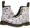 Blue Little Flowers Dr. Martens Kid's Collection Brooklee 8-Eye Lace Boot for Kids (Size 8)