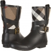 Black/Check Burberry Kids Brit Check Biker Boots for Women (Size 9)