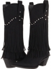 Black/Crystal Stud Roper 12 Stud and Fringe Boot for Women (Size 10)