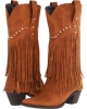 Tan/Crystal Stud Roper 12 Stud and Fringe Boot for Women (Size 10)
