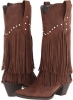 Brown/Crystal Stud Roper 12 Stud and Fringe Boot for Women (Size 10)