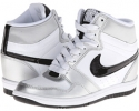 White/Metallic Silver/White/Black Nike Force Sky High Sneaker Wedge for Women (Size 5.5)