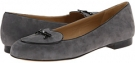 Dark Grey Kid Suede/Black Faux Patent Piping and Bow Trotters Cheyenne for Women (Size 9.5)
