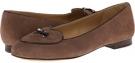 Dark Nude Kid Suede/Dark Brown Faux Patent Piping and Bow Trotters Cheyenne for Women (Size 9.5)
