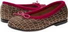 Fendi Kids Monogram Ballerina with Magenta Velvet Trim Size 7.5