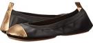 Samantha Soft Leather Fold Up Flat with Tumbled Metallic Captoe Women's 6